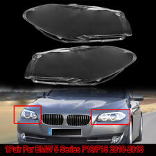 Fits 2011-2013 BMW 5-Series F10 520 523 525 Headlight Lamp Cover Lens Clear Pair