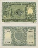 1951 Italia Banconota Lire 50 Italia Elmata D.M 31-12-1951 Fior Di Stampa Unc