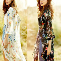 Womens Vintage Floral Loose Shawl Kimono Cardigan Boho Chiffon Top Jacket Blouse