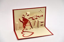 Handmade 3D Pop Up Love Tree Marriage Valentine's Anniversary Day Red Card