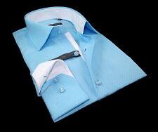 Chemise Homme bleu turquoise à motif tendance Enzo Di Milano SlimFit T.XXL