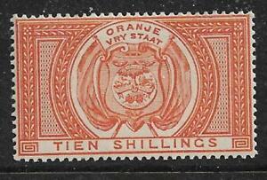 Orange Free State Tien Shillings Complete MUH/MNH 10s Orange SGF12 Cat £95