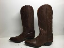 WOMENS NINE WEST SNIP TOE COWBOY LEATHER BROWN BOOTS SIZE 6 M