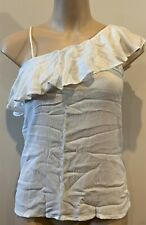 Abercrombie & Fitch HOLLISTER Womens Ivory One Shoulder Ruffle Tank TOP XS NWT
