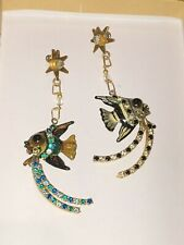Lunch at the Ritz Dangling Angel Fish Multi Crystal Rhinestones Post Earrings