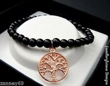 Beautiful Black Pearl Bead Rose Gold Tree Of Life Bracelet Bangle 15cm -20cm