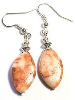 Silver Zebra Jasper Pierced Earrings Gemstone Antique Vintage Tibetan Style Boho