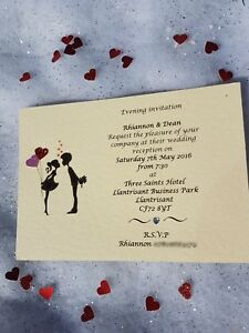 10 Handmade Personalised Couple Wedding day evening Invitations free envelopes