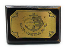 """Antique Wooden Plaque & Sign of """"Malta Maritime Pilots"""" For Home & Wall Decor"""