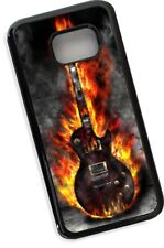 Cool Rock Metal Blues Flaming Electric Guitar Black Case Cover for Galaxy S7