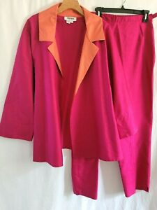 Womens Plus Size Nira Nira Pink Silk Jacket & Pants Suit Outfit 1X
