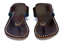 Mens slippers brown leather sandals casual footwear office flip flops us 12 size