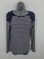WOMENS OASIS NAVY BLUE/WHITE STRIPE LACED LONG SLEEVE ROUND NECK T SHIRT S SMALL