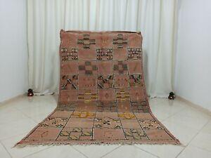 Vintage Handmade Kilim Moroccan Rug 4'6''x7'8'' Geometric Beige Berber Carpet