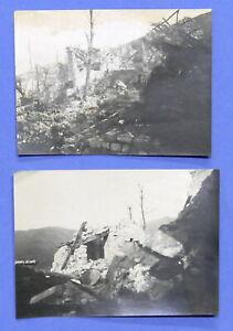 WWI Lotto 2 fotografie zona di Plava - Fortificazioni austriache distrutte 1917