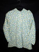 Alaska Native Eskimo Kuspuk M L Blue Green Floral Shirt Half Zip Pullover Jacket