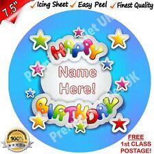 "Happy Birthday Cake Topper Personalised 7.5"" EasyPeel Edible ICING Round PRE-CUT"