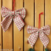 Pair Christmas Tree Decoration Fabric Red Green Tartan Check Bows Set 2 TO CLEAR