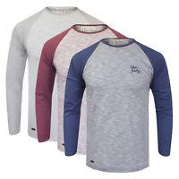 NEW Men's Tokyo Laundry Contrast Marl Raglan Long Sleeve Top Blue & Grey S-XL