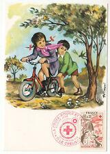 CARTE MAXIMUM FDC 1975 TIMBRE N° 1861 CROIX ROUGE AUTOMNE ENFANT VELO LAPIN