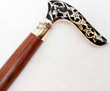 Antique Victorian Style Cane Wooden Walking Stick Vintage Solid Brass Handle