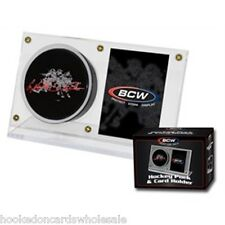 2 BCW Brand Acrylic Puck & and Hockey Card Storage Holder Display Case