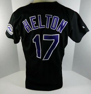 Colorado Rockies Todd Helton #17 Authentic Black Jersey Russell Athletic 44 516