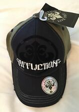 Affliction Black / Green Distressed Cap Hat Size S/M Retail $45 NWT MMA UFC