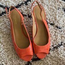 Nine West Sling Backs Kitten Heels Peep Toe Orange Patent Leather Look Size 10