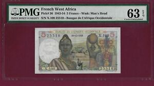 French West Africa 5 Francs 1949 P-36 UNC KEY DATE GRADED