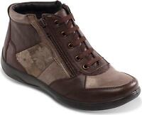 Padders PICCOLO Ladies Womens Leather Lace Up Extra Wide (2E/3E) Boots Brown