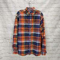 Polo Ralph Lauren Shirt Madras Plaid Button Down Orange Blue Men's Large L