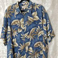 MENS XXL Campia Moda Blue Floral Hawaiian Tropical Print Camp Shirt S/S