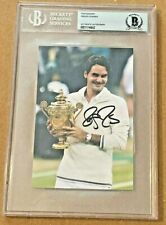 ROGER FEDERER SIGNED 4X6 PHOTO SLABBED BECKETT CERTIFIED #3