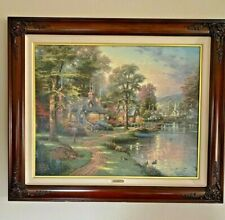 Thomas Kinkade Oil Painting Hometown Lake Hand Highlighted, Limited Original