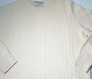 VTG James Pringle Scotland Cashmere Sweater Sz S Scottish Pullover Ivory Cable