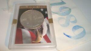 1989 American Silver Eagle 1oz 99.9% SILVER  EAGLE & FLAG Design Case & Pouch D4