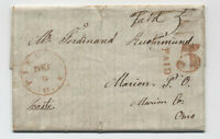 1845 Piketon Ohio red CDS stampless paid and large 5 [5251.243]