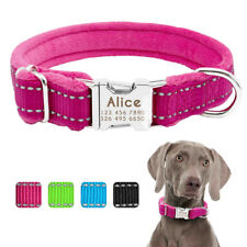 Nylon Personalized Dog Collar Soft Plush Padded Pet Name ID Collar S M L XL