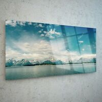 Wall Art Glass Print Canvas New Picture Large Mountains Snow Sea p26206 100x50cm