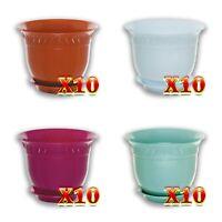 """10 Set 7.5"""" 8.6"""" Plastic Flower Plant Pots  Classic Planters +Saucer  for Plants"""