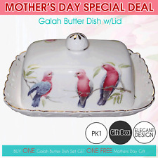 Fine Bone China Galah Butter Dish Lid Boxed Mothers Day Gift Breakfast Ceramic