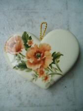 Cream Colored Ceramic Heart Shaped Orange Flower Pomander Potpourri Sachet 3� X