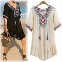 Ths01 Women Boho Tessals Mexican Ethnic Dress Hippie Blouse Gypsy Mini Dress Ths