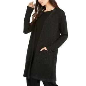 Eileen Fisher Womens Black Metallic Cardigan Top Jacket Petites PS/PP BHFO 4852