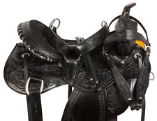 BLACK WESTERN RANCH SADDLE CUTTING PLEASURE TRAIL HORSE LEATHER TACK 15 17 18