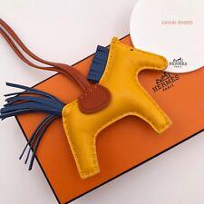 Hermes Grigri RODEO PM Sac cuir charme Birkin Kelly Jaune Bleu Cornaline Box