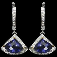 Mother's Day Gift Sale14k W Gold Natural 5.05 Cts Iolite Diamond Ladies Earrings