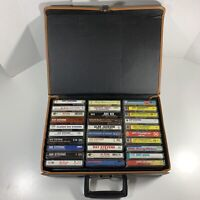 Vintage Cassette Organizer Suitcase Made In Italy + 30 Mixed Cassette Tapes Lot