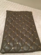 NWT Deux Lux XO Gold Heart Studs Pouch Large Clutch Mink Color Free Shipping
